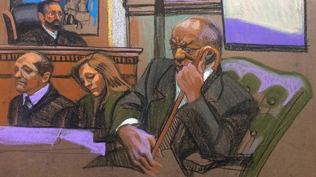 (Source: CNN) Courtroom sketches from Saturday, June 17, after a jury deadlock caused Judge O'Neill to declare a mistrial in the case against Bill Cosby.