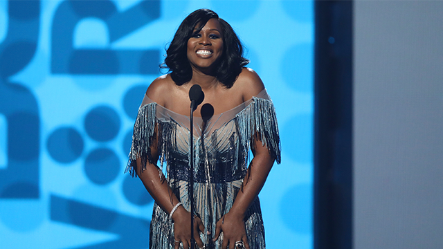 Remy Ma speaks at the BET Awards at the Microsoft Theater on Sunday, June 25, 2017, in Los Angeles. (Photo by Matt Sayles/Invision/AP)