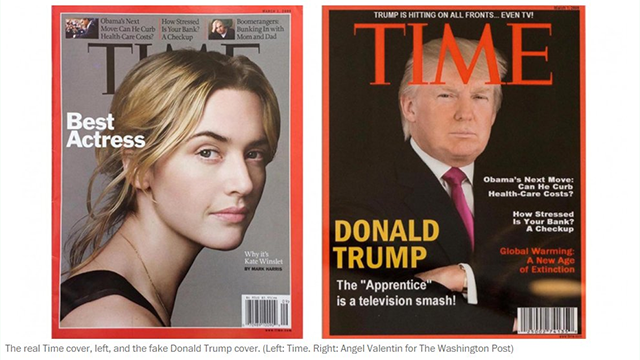 (The Washington Post via AP) A fake Time Magazine cover featuring Trump is displayed in his golf clubs.