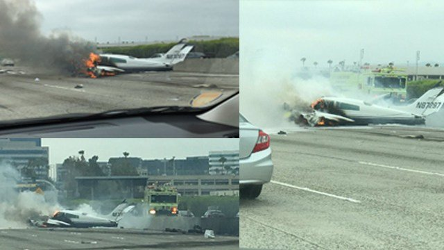 Plane bursts into flames as it crashes on California freeway