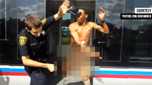 Naked man stunned with Taser after slapping Houston police officer