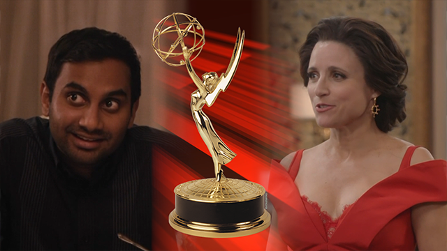 (AP Photos) Aziz Ansari and Julia Louis-Dreyfus.