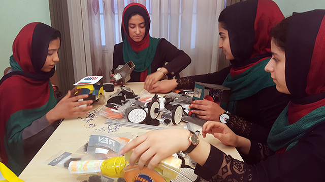 (AP Photos/Ahmad Seir) Six female students from war-torn Afghanistan who had hoped to participate in an international robotics competition July 16-18 in Washington D.C will have to watch via video link after the U.S. denied them visas...