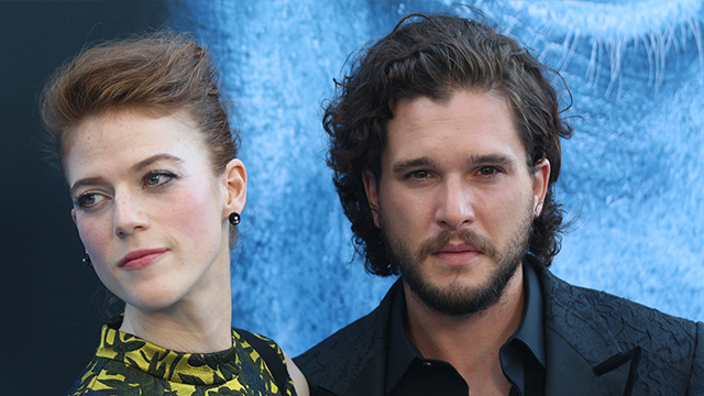 "Kit Harington, right, and Rose Leslie arrive at the LA Premiere of ""Game of Thrones"" at The Walt Disney Concert Hall on Wednesday, July 12, 2017 in Los Angeles. (Photo by Willy Sanjuan/Invision/AP)"