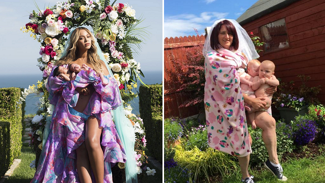 Mom hilariously recreates Beyoncé's photo with newborn twins
