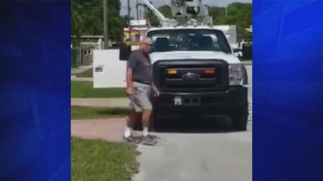 Video: Man shoots out tires of AT&T trucks parked in front of driveway