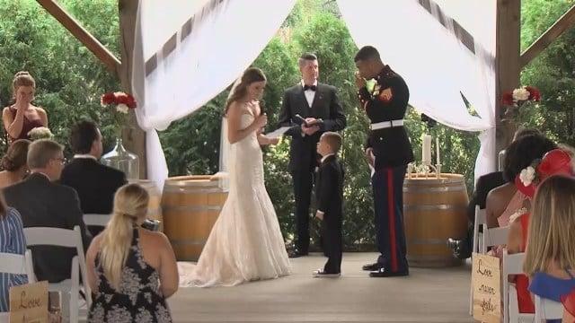 Little boy breaks down in tears when new stepmom reads vows to him