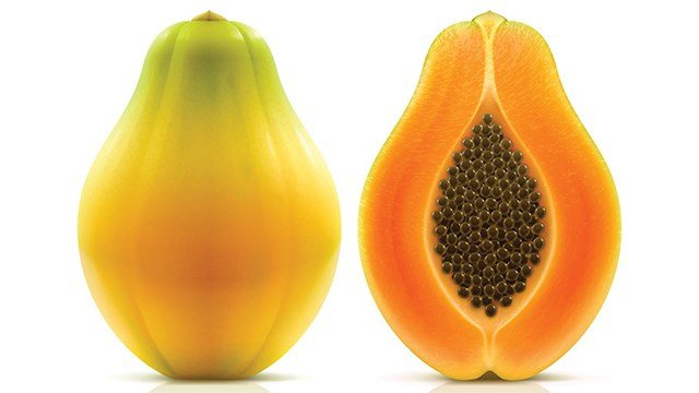 Maradol Papaya: Maradol papayas are a large, oval fruit that weighs 3 or more pounds, with green skins that turn yellow when the fruit is ripe. The flesh inside the fruit is salmon-colored. (CDC)