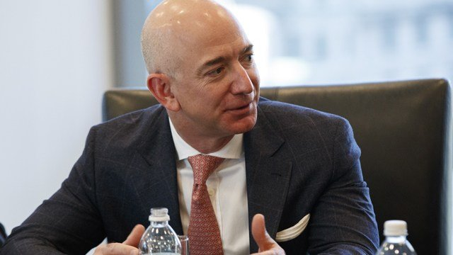 Amazon founder Jeff Bezos speaks during a meeting with President-elect Donald Trump and technology industry leaders at Trump Tower in New York, Wednesday, Dec. 14, 2016. (AP Photo/Evan Vucci)