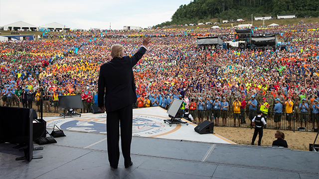 (AP Photo/Carolyn Kaster) FILE - In this Monday, July 24, 2017 file photo, President Donald Trump waves to the crowd after speaking at the 2017 National Scout Jamboree in Glen Jean, W.Va. On Thursday, July 27, 2017.