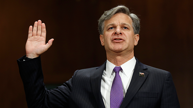 FBI Director nominee Christopher Wray is sworn-on on Capitol Hill in Washington, Wednesday, July 12, 2017, prior to testifying at his confirmation hearing before the Senate Judiciary Committee. (AP Photo/Pablo Martinez Monsivais)