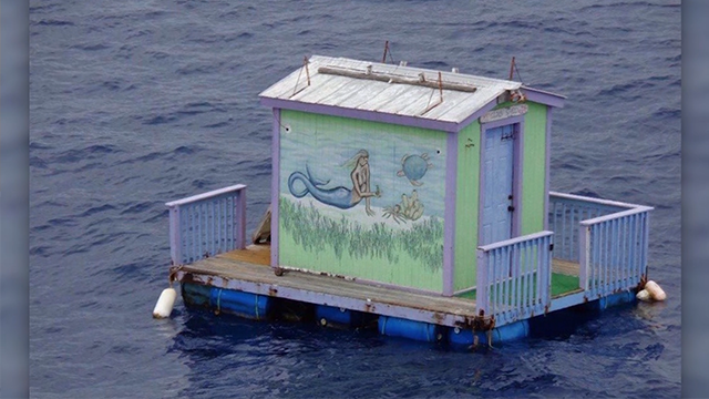Floating mermaid dock drifted over from Key West -- but whose is it?