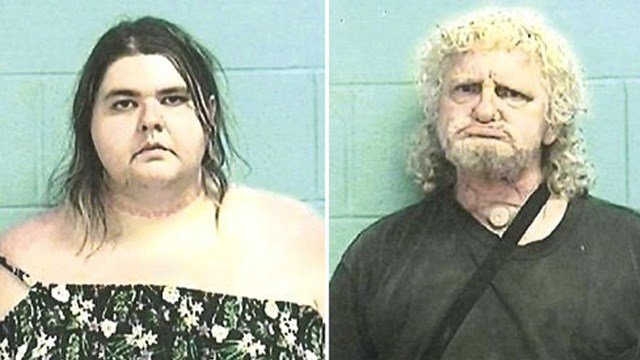 (Elyria Police Department via AP). This combination of photos provided by Elyria Police Department shows from left, Jamie Adkins and Brian Dekam.