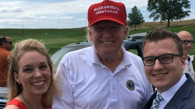 (Source: CNN) President Donald Trump took some time away from his working vacation on Saturday to engage in what has become a staple of his weekend getaways. He crashed a wedding.