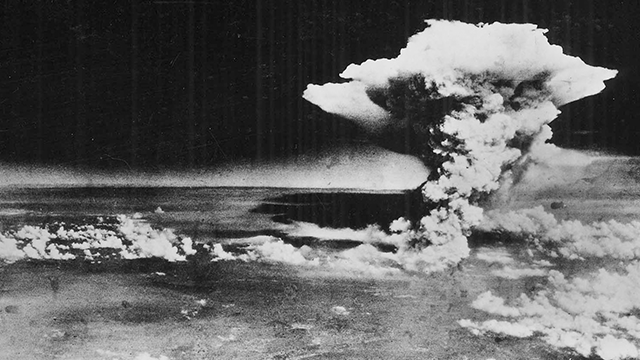 "(Hiroshima Peace Memorial Museum/U.S. Army via AP)  In this Aug. 6, 1945, photo released by the U.S. Army and provided by the Hiroshima Peace Memorial Museum, a huge cloud resulting from the massive fires started by ""Little Boy"", the atomic bomb dropped.."