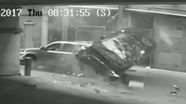 VIDEO: BMW plunges 7 floors from downtown parking garage