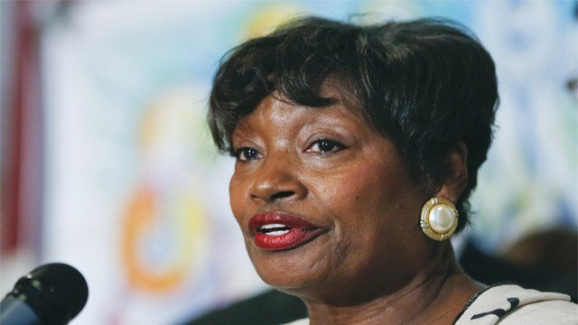 In this April 27, 2015, file photo, Senate Democratic Conference Leader Andrea Stewart-Cousins, D-Yonkers, speaks during a news conference in Albany, N.Y. (AP Photo/Mike Groll, File)