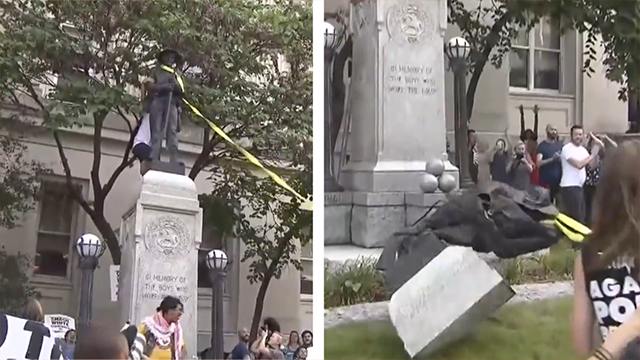 Protesters in Durham Pull Down Confederate Statue