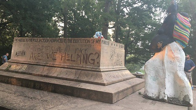 This is all that remains of the Lee-Jackson Monument at Wyman Park. (WMAR via CNN)