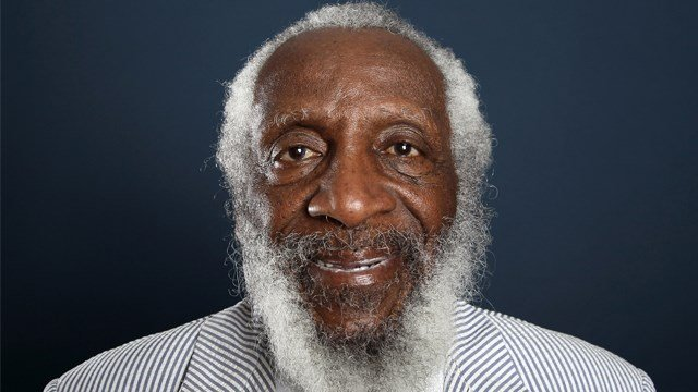"In this July 21, 2012 file photo, comedian and activist Dick Gregory, from the upcoming documentary film ""Soul Food Junkies,"" poses for a portrait during the PBS TCA Press Tour in Beverly Hills, Calif. (Photo by Matt Sayles, AP)"