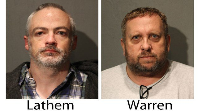 These booking photos provided by the Chicago Police Department show Wyndham Lathem, left, and Andrew Warren on Saturday, Aug. 19, 2017.   (Chicago Police Department via AP)