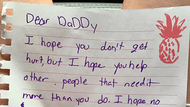 As an off-duty police officer with the Waco Police Department prepared to head out and rescue people from Harvey's flooding, his daughter wrote him a heartwarming note. (Source: Waco Police Department)