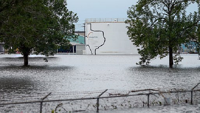 The Arkema Inc. chemical plant is flooded from Tropical Storm Harvey, Wednesday, Aug. 30, 2017, in Crosby, Texas. (Godofredo A. Vasquez/Houston Chronicle via AP)