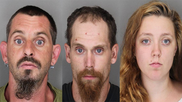 Gary Bubis, 37, (left), Brandy Shaver, 18, (right) and Shawn Whaley, 23, (center), have all been charged with second-degree assault. (Source: Oswego County Sheriff's Office)
