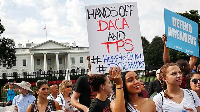 Protesters rally in front of the White House over the Deferred Action for Childhood Arrivals, known as DACA, Sept. 5, 2017. (AP Photo/Jacquelyn Martin)