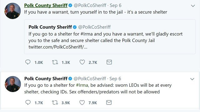 Florida sheriff threatens arrests at Hurricane Irma shelters for fugitives