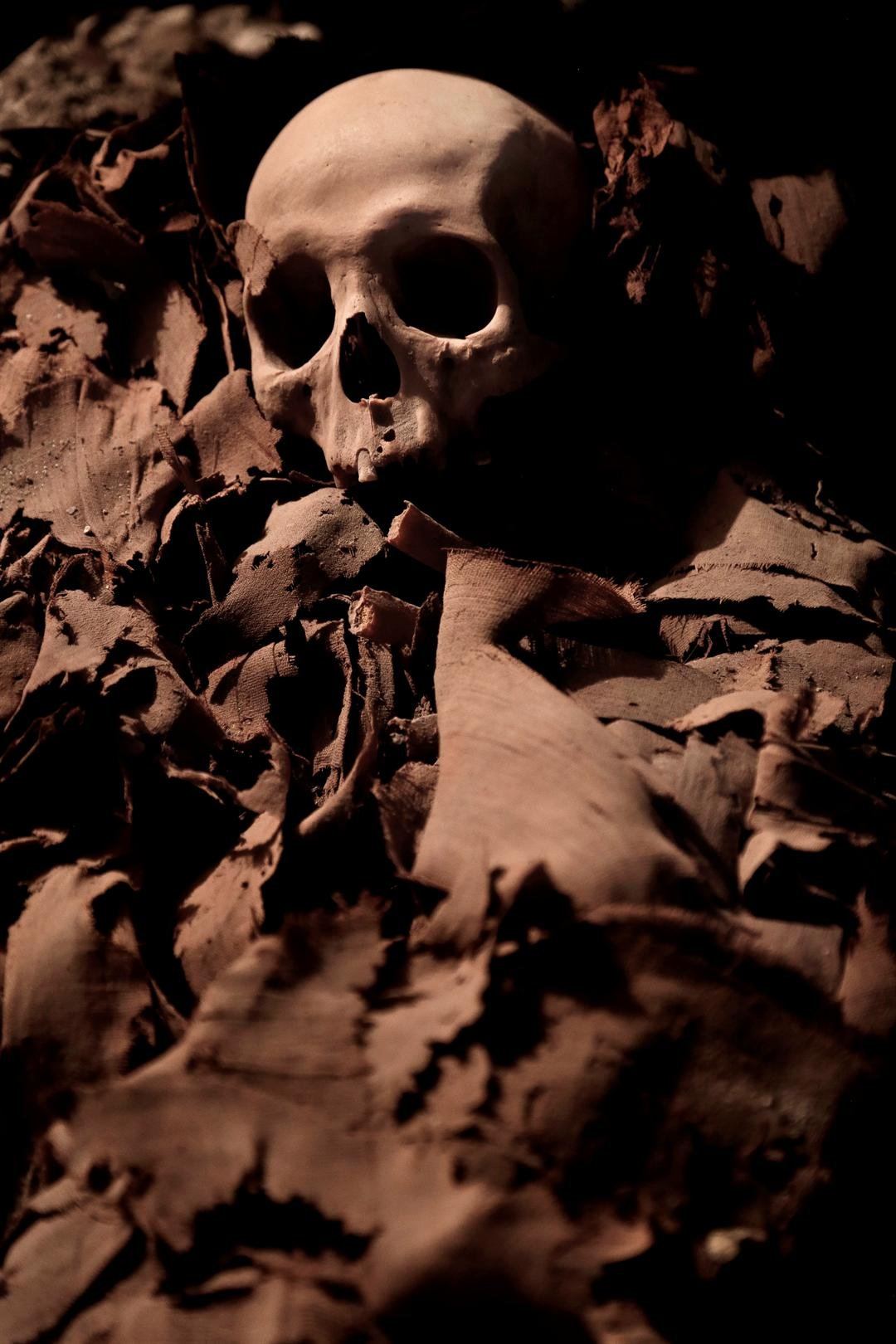 A mummy found in the New Kingdom tomb that belongs to a royal goldsmith in a burial shaft, in Luxor, Egypt, Saturday, Sept. 9, 2017. (AP Photo/Nariman El-Mofty)
