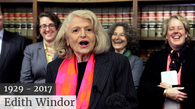 (AP Photo/Richard Drew, File) FILE - In this Oct. 18, 2012 file photo, Edith Windsor addresses a news conference at the offices of the New York Civil Liberties Union, in New York. Windsor, who brought a Supreme Court case that struck down parts...