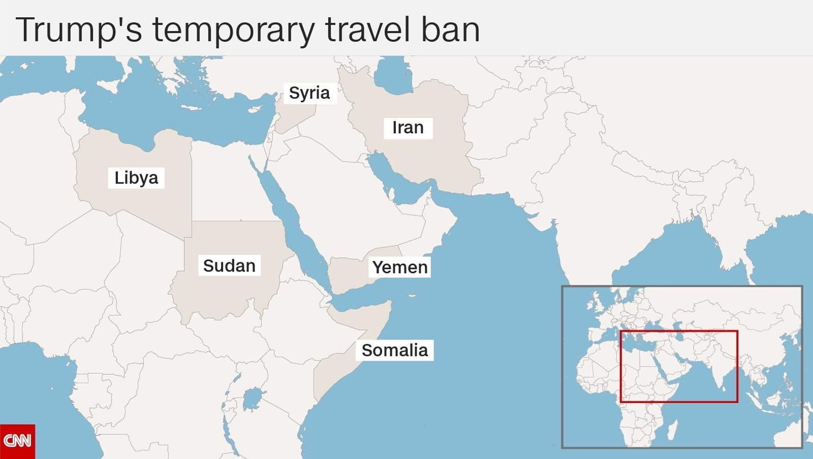 (Source: CNN) A map depicts the countries that are part of President Donald Trump's travel ban.