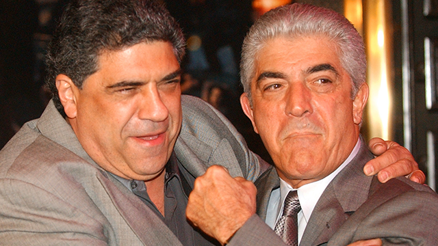 "(AP Photo/Frank Franklin II, File)  In this March 2, 2004 file photo, actors Vincent Pastore, left, and Frank Vincent rough around for photographers at the fifth season premiere of the HBO series ""The Sopranos,"" at New York's Radio City Music Hall."