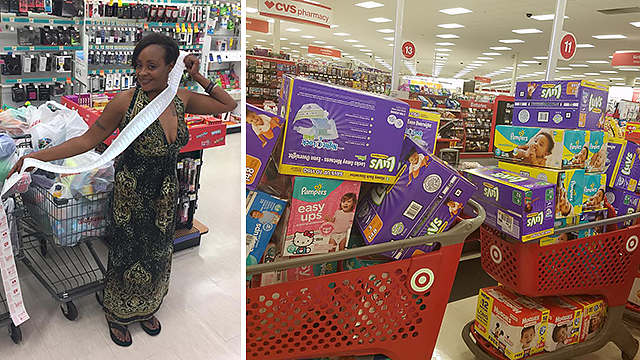 Longtime coupon clipper Kimberly Gager has been buying diapers, baby food, toilet paper and other supplies to help hurricane victims in Texas. (Source: Kimberly Gager)