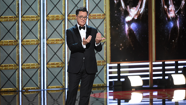ost Stephen Colbert appears at the 69th Primetime Emmy Awards on Sunday, Sept. 17, 2017, at the Microsoft Theater in Los Angeles. (Photo by Phil McCarten/Invision for the Television Academy/AP Images)