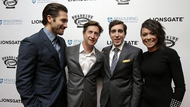 Actor Jake Gyllenhaal, director David Gordon Green, Boston Marathon bombing survivor Jeff Bauman and actress Tatiana Maslany at Spaulding Tuesday night. (Steven Senne/AP)