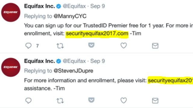 Equifax officials direct customers fake site after data breach