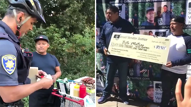 "Juan ""Beto"" Macias was presented with a $87,921 check, after a police officer seized his money while issuing a citation on Sept. 9, 2017. (Facebook)"