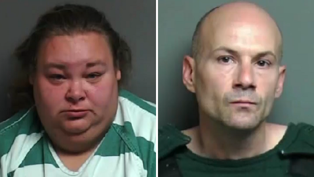 Misty George, 30, (left) and her boyfriend Michael Welch, 38, (right) are each charged with human trafficking-forced labor and prostitution/accepting earnings. (Macomb County Sheriff's Office)