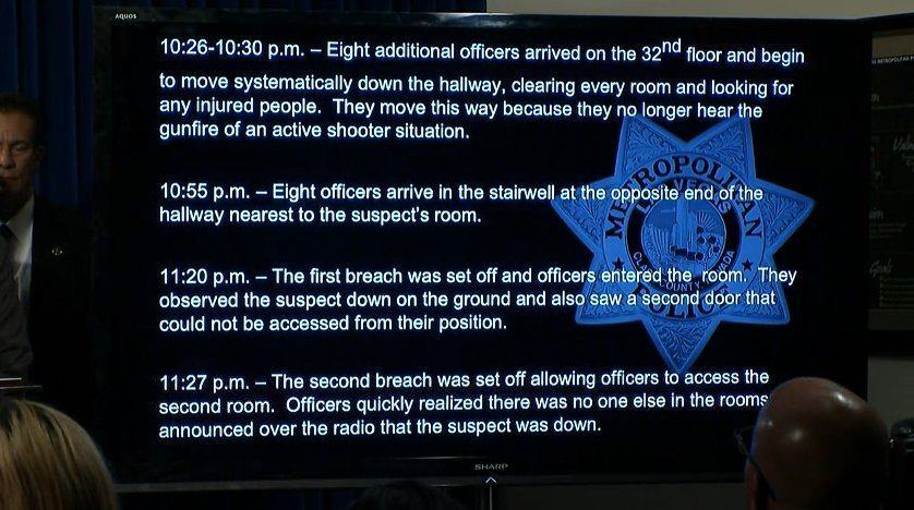 (Source: KVVU) Las Vegas PD releases timeline of events leading up to police entering mass shooting suspect's hotel room.