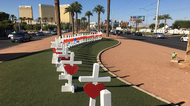 Greg Zanis drove nearly 2,000 miles from the Chicago area to put up the crosses Thursday afternoon. (Fox 5 Vegas)