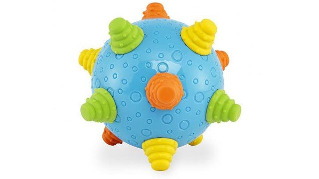 "Toys ""R"" Us is recalling their Bruin infant wiggle ball toys after discovering the rubber knobs and plastic back can detach, posing a choking hazard. (Photo: US Consumer Product Safety Commission)"