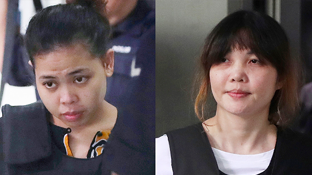 (AP Photos/Daniel Chan) In this combination of photos, Indonesian Siti Aisyah, left, and Vietnamese Doan Thi Huong, right, are escorted by police as they leave their court hearing at Shah Alam court house in Shah Alam, outside Kuala Lumpur, Malaysia.