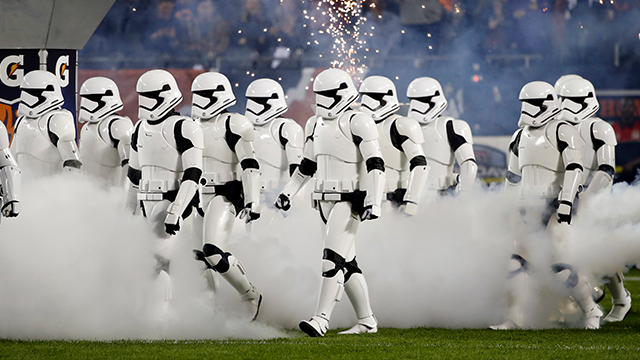 (AP Photo/Charles Rex Arbogast) Stormtroopers march down the field during the halftime of an NFL football game between the Chicago Bears and the Minnesota Vikings, Monday, Oct. 9, 2017, in Chicago.