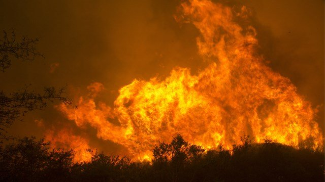 Flames from a massive wildfire burn Monday, Oct. 9, 2017, in Napa, Calif.  (AP Photo/Rich Pedroncelli)