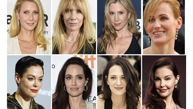 This combination photo shows actresses who are among the many women who have spoken out against Harvey Weinstein in on-the-record reports that detailed claims of sexual abuse. (AP Photo/File)