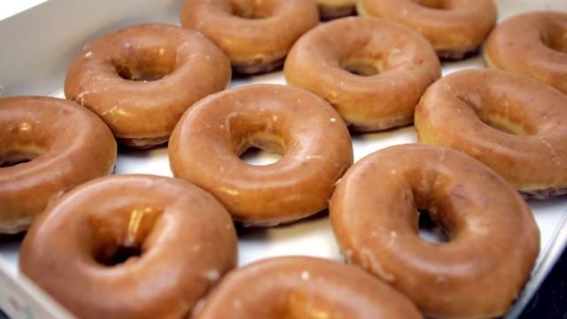 Krispy Kreme doughnuts are shown in Raleigh, N.C., Thursday, April 12, 2007. (AP Photo/Chuck Burton)