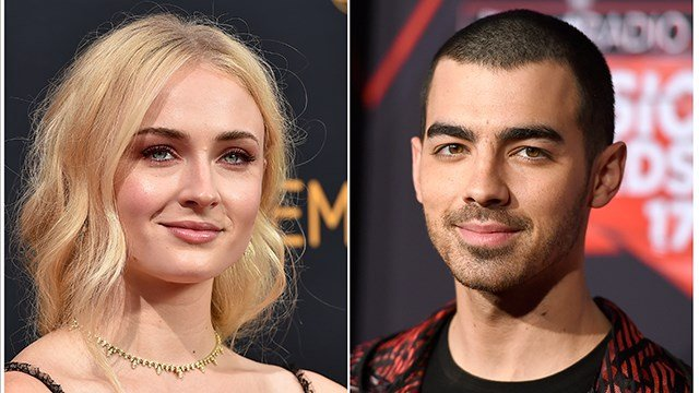 his combination photo shows Sophie Turner at the 68th Primetime Emmy Awards in Los Angeles on Sept. 18, 2016, left, and musician Joe Jonas at the iHeartRadio Music Awards in Inglewood, Calif., on March 5, 2017. (Photo by Jordan Strauss/Invision/AP, File)