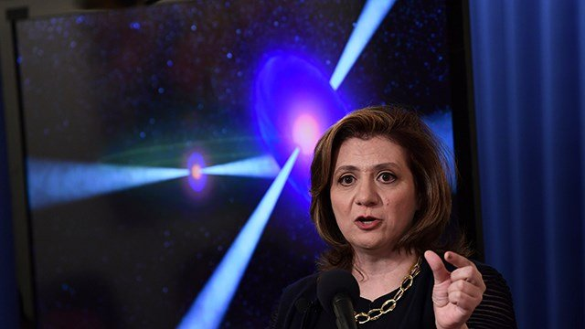 Vicky Kalogera, a gravitational-wave astrophysicist at Northwestern University who contributed to the historic detections of gravitational waves, speaks at the National Press Club in Washington, Monday, Oct. 16, 2017. (AP Photo/Susan Walsh)